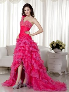 Attractive Hot Pink A-line One Shoulder Evening Dress Pattern for Fall