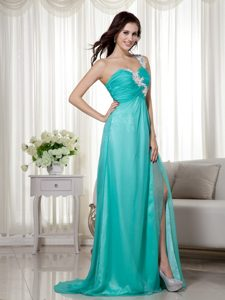 Beautiful Turquoise Zipper-up Chiffon Evening Cocktail Dress for Fall