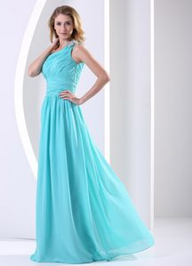 One Shoulder Ruched Classical Evening Formal Gowns in Aqua Blue