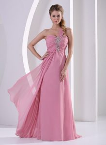 Rose Pink One Shoulder Chiffon Ladies Evening Dresses with Beading
