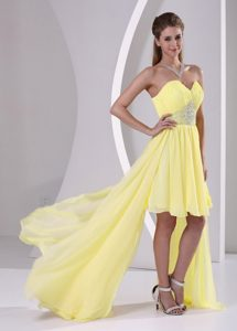 High-low Sweetheart Beaded Popular Evening Gown Dresses in Yellow