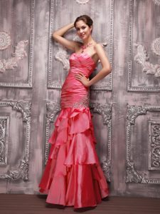 Fashionable Sweetheart Coral Red Evening Wear Dresses with Ruches