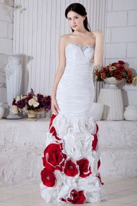 White and Red Mermaid Elegant Evening Cocktail Dresses with Flowers
