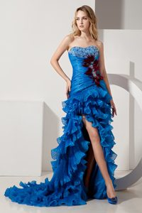 Royal Blue Beautiful Homecoming Evening Dresses with Ruffles