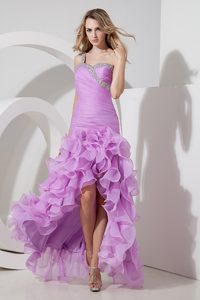Exquisite Lavender High-low Beaded Evening Dress for Women