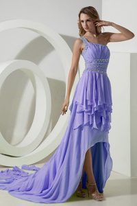 Lilac One Shoulder High-low Fabulous Ladies Evening Dress for Summer