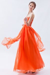Orange Red Empire Sweetheart Evening Dresses with Beading