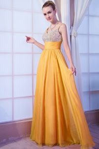 Orange Empire Spaghetti Straps Chiffon Evening Dresses with Beading