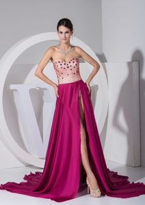Brand New Sexy High Slit Sweetheart Chiffon Evening Dress with Beading