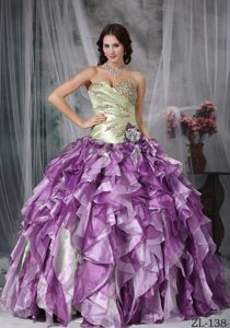 Beaded Sweetheart Multi-colored Quinceanera Dress with Ruffles and Flower