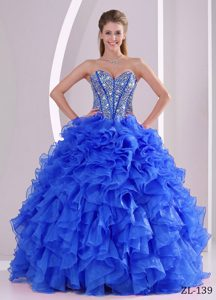 Sweetheart Beaded Lace-up Romantic Blue Quinceanera Dress with Ruffles