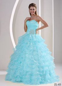 Romantic Ruffled Zipper-up Dress for Quinceaneras in Baby Blue