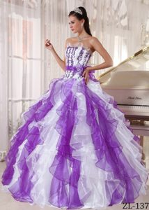 2014 Attractive Beaded Quinceanera Dresses in Purple and White
