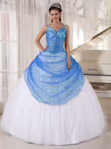 Charming Spaghetti Tulle Lace-up Quinceanera Dress in Blue and White