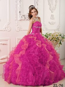 Attractive Hot Pink Sweetheart Lace-up Quince Dress with Beading