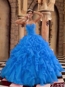 2014 Gorgeous Blue Beaded Lace-up Sweet 16 Dresses with Ruffles