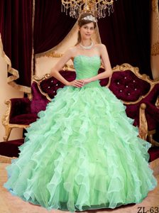 Apple Green Ball Gown Sweetheart Beaded Quinceanera Gown Dresses