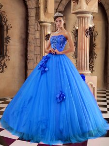 Blue A-line and Tulle Beaded Quinceanera Dresses with Hand Made Flowers