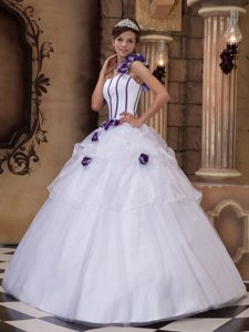 White One Shoulder and Quinceanera Gown Dress Tulle Hand Made Flowers