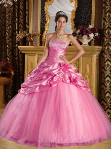 2013 Rose Pink Ball Gown Quinceanera Gown Dresses and Tulle Beaded