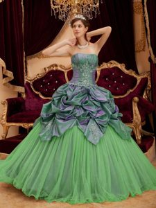 2013 Spring Green Ball Gown Quinceanera Gown Dress and Tulle Beaded