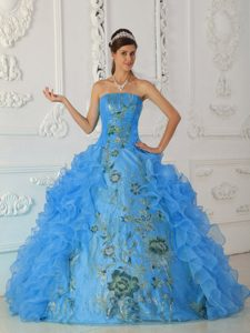 2013 Aqua Blue Embroidery and Quinceanera Gown Dresses