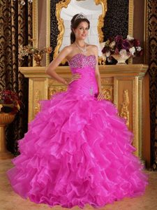 2013Pink Beaded and Ruffled Quinceanera Gown Dresses for Parties