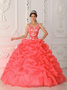 Cheap Coral Red Ball Gown Quinceanera Dress and Appliques