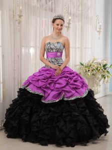 Popular Fuchsia and Black Quinceanera Gown Dresses Ball Gown Pick-ups