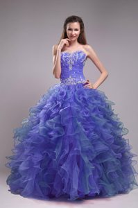 Beautiful Blue Ball Gown Quinceanera Dresses Appliques Beaded