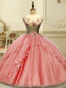 Amazing Scoop Sleeveless Quince Ball Gowns Floor Length Appliques Watermelon Red Tulle