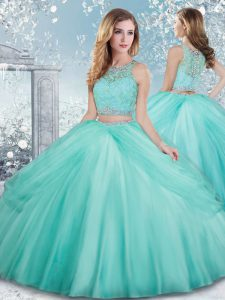 Nice Aqua Blue Clasp Handle Quinceanera Gowns Beading and Lace Sleeveless Floor Length