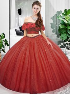 Modern Off The Shoulder Sleeveless Lace Up Ball Gown Prom Dress Coral Red Organza