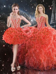 Low Price Sweetheart Sleeveless Quinceanera Dress Floor Length Beading and Ruffles Coral Red Organza