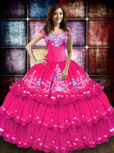 Dazzling Off The Shoulder Sleeveless Ball Gown Prom Dress Floor Length Embroidery and Ruffled Layers Hot Pink Taffeta