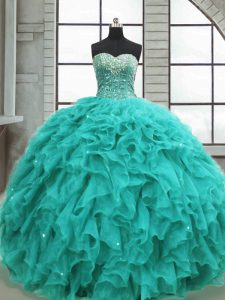 Hot Sale Beading and Ruffles 15 Quinceanera Dress Turquoise Lace Up Sleeveless Floor Length