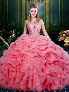 Clearance Watermelon Red Organza Lace Up Halter Top Sleeveless Floor Length Vestidos de Quinceanera Beading and Ruffles and Pick Ups