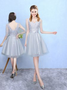 Silver V-neck Neckline Lace Dama Dress for Quinceanera Half Sleeves Lace Up