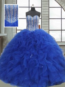 bf9ca954c66 Inexpensive Royal Blue Sleeveless Beading and Ruffles and Sequins Floor  Length 15th Birthday Dress