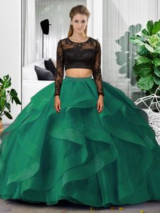 Super Dark Green Long Sleeves Tulle Backless Sweet 16 Dresses for Military Ball and Sweet 16 and Quinceanera
