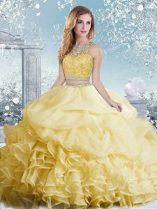 Custom Fit Yellow Two Pieces Bateau Sleeveless Organza Floor Length Clasp Handle Beading and Ruffles and Pick Ups Sweet 16 Dresses