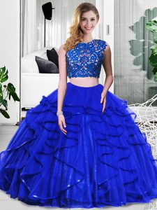 Amazing Royal Blue Zipper Quinceanera Dresses Lace and Ruffles Sleeveless Floor Length