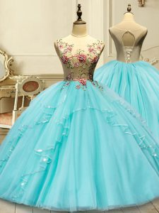 Smart Aqua Blue Ball Gowns Scoop Sleeveless Tulle Floor Length Lace Up Appliques Sweet 16 Dress