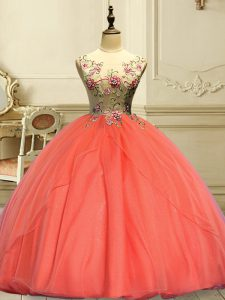 Orange Red Scoop Lace Up Appliques Quinceanera Gowns Sleeveless