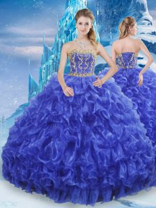 Unique Royal Blue Strapless Neckline Beading and Appliques and Ruffles 15 Quinceanera Dress Sleeveless Lace Up
