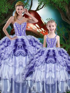 Decent Multi-color Ball Gowns Beading and Ruffles and Ruffled Layers Ball Gown Prom Dress Lace Up Organza Sleeveless Floor Length