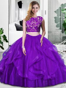 Luxurious Purple Scoop Neckline Lace and Ruffles Ball Gown Prom Dress Sleeveless Zipper