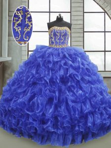 Royal Blue Lace Up 15th Birthday Dress Beading and Appliques and Ruffles Sleeveless Floor Length