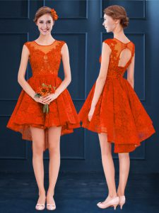 High Low A-line Sleeveless Rust Red Court Dresses for Sweet 16 Clasp Handle