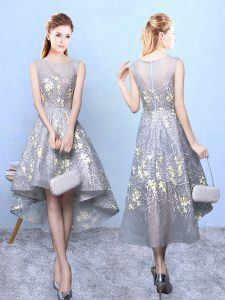 Grey Scoop Zipper Pattern Quinceanera Court Dresses Sleeveless